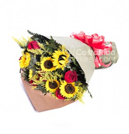 Bouquet of Roses and Sunflowers